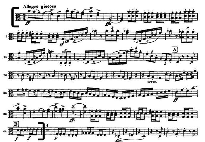 Brahms 4 mvt 3 viola excerpt beginning